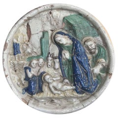 18th Century Italian Maiolica Nativity Circular Relief Plaque from Umbria