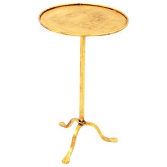 Spanish Mid-20th Century Hand-Hammered Gilt Iron Gueridon Table