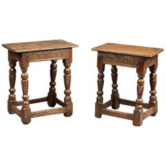 Two Charles I Oak Joined Stools, English, Gloucestershire, circa 1630-1640