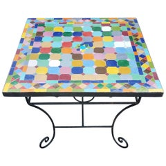 Multicolor Moroccan Mosaic Table, Choice of Iron Base