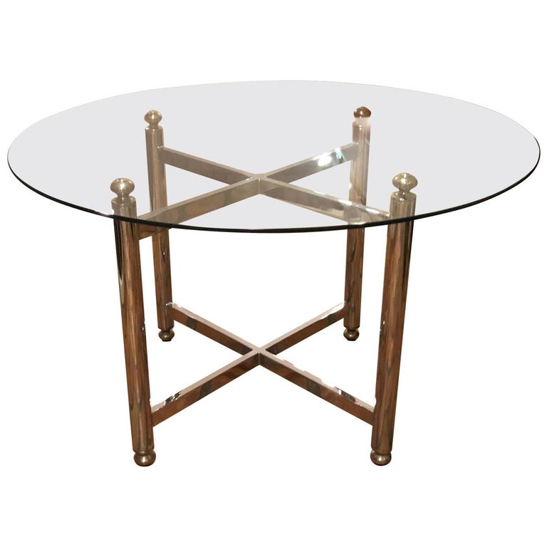 Maison Jansen Style Round Chrome, Brass and Glass Table