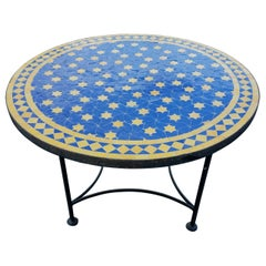 Blue/Yellow Moroccan Mosaic Table, Choose Your Base