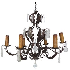 Six Light Spanish Style Wrought Iron Chandelier with Crystal Drops