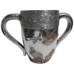 Gorham Japonesque Mixed Metal 2-Handled Cup with Crane & Butterflies