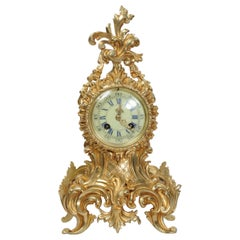 Antique French Rococo Boudoir Clock by Vincenti