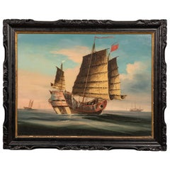 Good and Large Chinese Export Painting of an Ocean Going Junk in Its Original