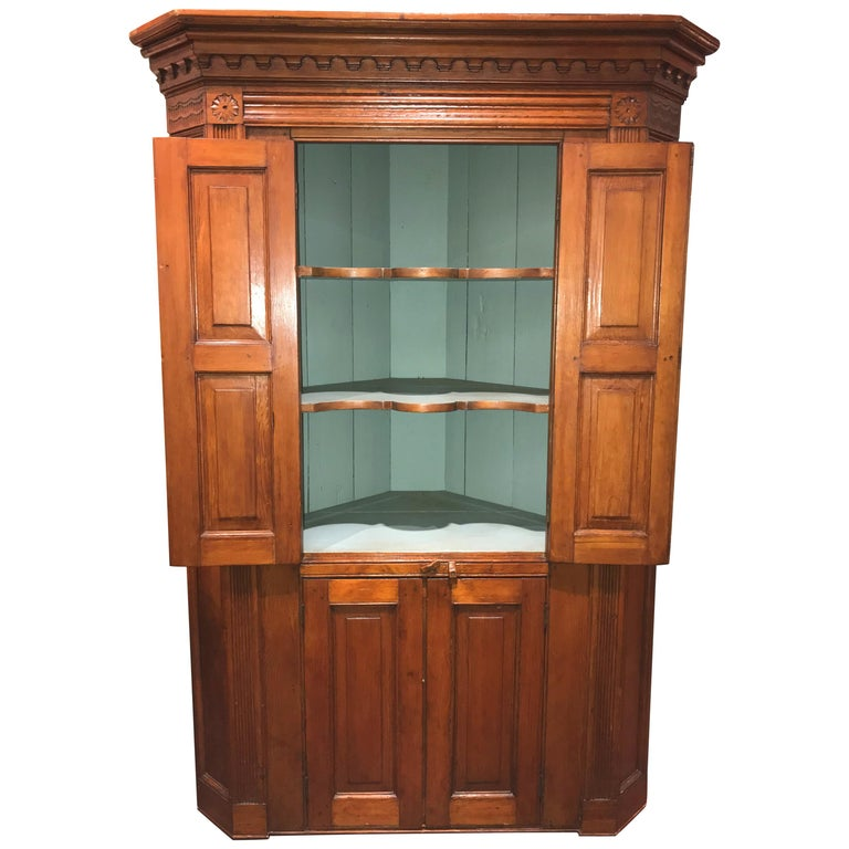 Raised Panel Pine Four-Door Cupboard circa 1800 Probably Mid Atlantic States For Sale