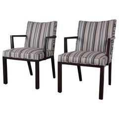 Edward Wormley for Dunbar Mahogany Club Chairs, Pair