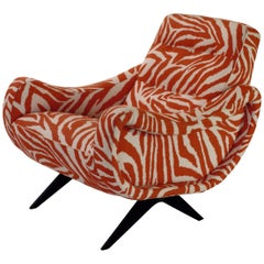 Tribute to Midcentury Design, Italian Armchair in Funky Zebra