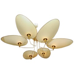 Brass and Parchment Paper Chandelier by Diego Mardegan for Glustin Luminaires