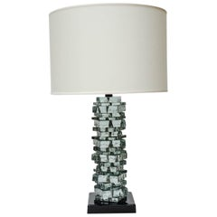 Pair of Rough Cut Edges Murano Glass Table Lamps