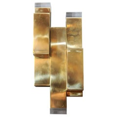 Brass and Plexiglass Wall Sconces by Glustin Luminaires