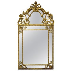 Antique French Louis XV Rococo Style Gold Trumeau Console Wall Mirror