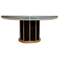 Pair of Console Tables in Tinted Black and Cream Glass