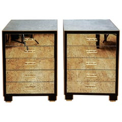 Pair of Nightstands in Mirror and Tinted Glass with Five Drawers