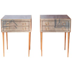 Pair of Nightstands in Smoked Mirror, with Two Drawers