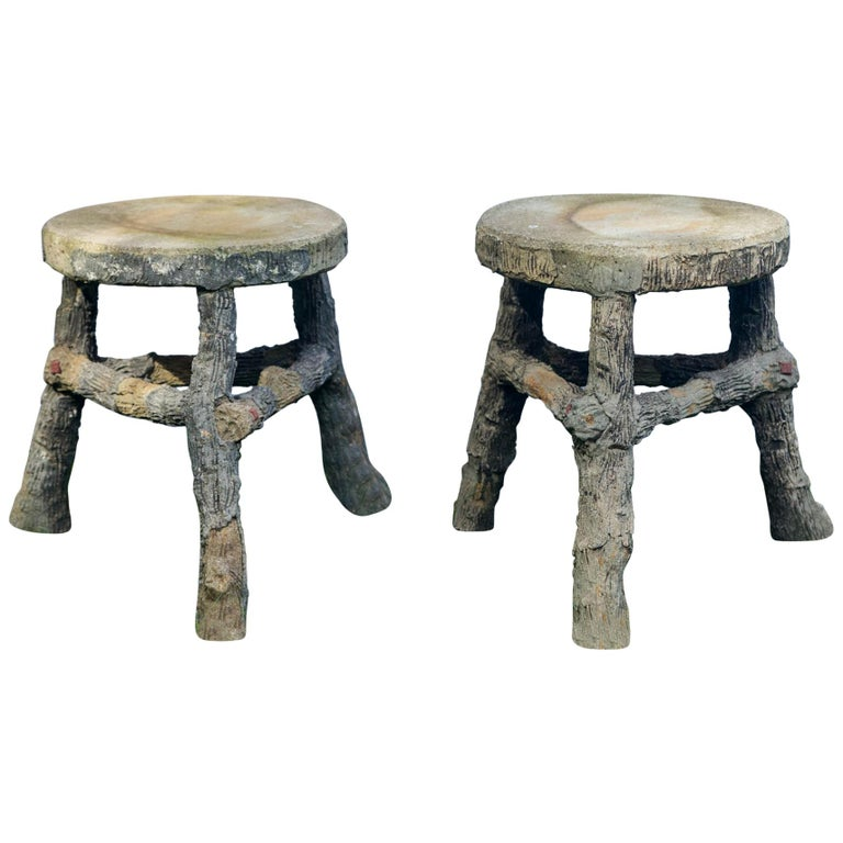 Pair of Faux Bois Stools For Sale