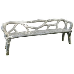 Unique French Long White Cement Bench
