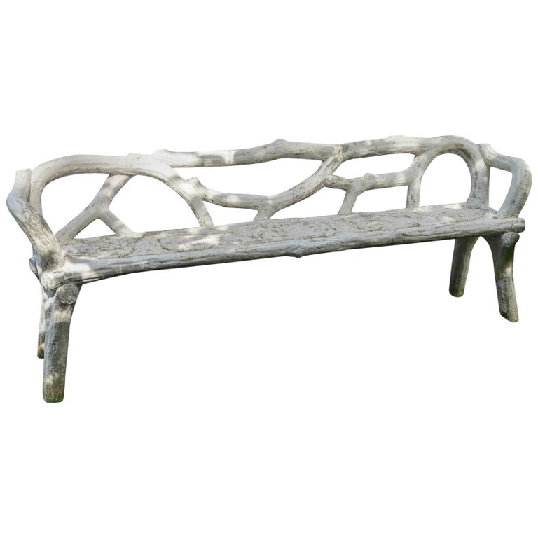 Unique French Long White Cement Bench For Sale