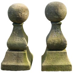 Unusual Pair of Marked Cast Stone Finials