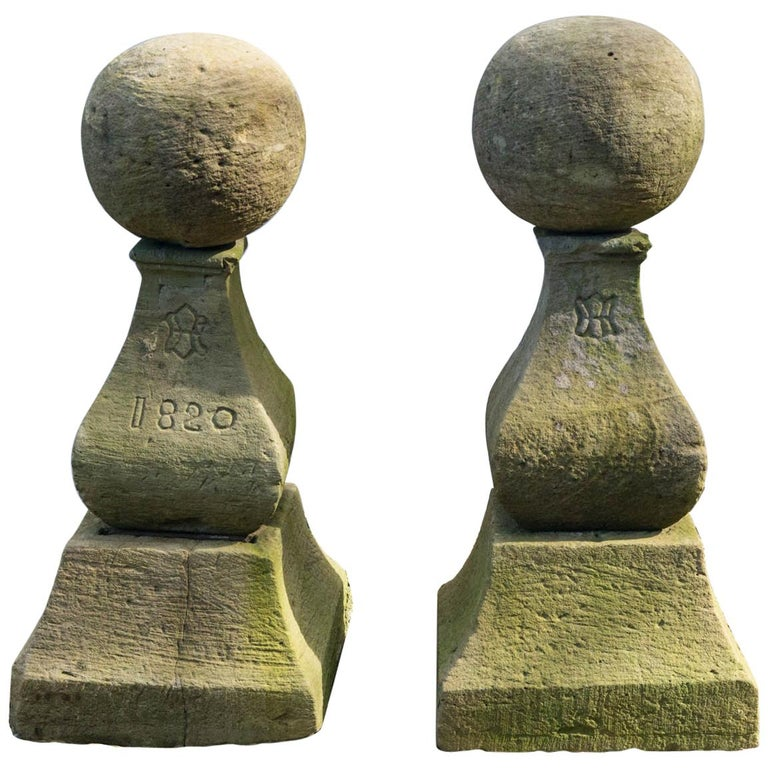 Unusual Pair of Marked Cast Stone Finials For Sale