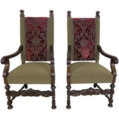 Pair of 19th Century French Louis XIII Style Throne Style Armchairs