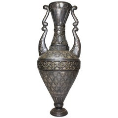 Spanish 19th Century Tooled Metal Overlaid Vase in the Style of Plácido Zuloaga