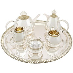 Unusual English Sterling Silver Six-Piece Tea and Coffee Service