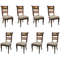 8 Italian Neoclassical Style High Back Lattice and Brass Inlay Dining Chairs