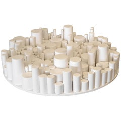 Modern Round Wooden White Table Sculpture by Yamil O. Cardenas