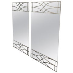 Pair of Frameless Contemporary Mirrors