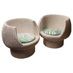 Pair of Mid-Century Modern Super Cool White Wicker Bubble Chairs
