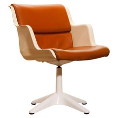 1970s, Leather, Fibreglass and Metal Desk Side Chair by Yrjö Kukkapuro for Haimi