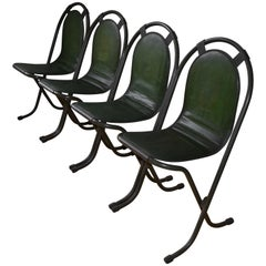 Stacking Chairs by Sebel, Pressed Metal Seat on Tubular Frame, Set of 4