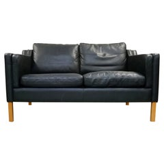 Stouby Black Leather Settee in the Style of Børge Mogensen