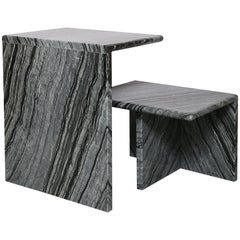 The Marble House Black Wood Low Side Table, Handmade in Italy