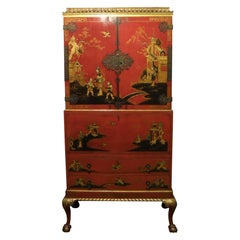 Early 20th Century Oriental Chinoiserie Writing Cabinet on Stand