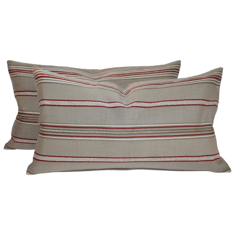 Pair of Vintage Ticking Bolster Pillows For Sale