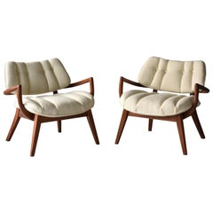 Paul László, Lounge Chairs, Stained Mahogany, White Fabric, 1940s America