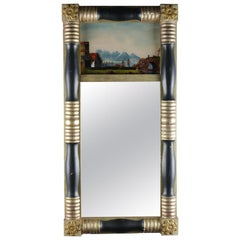 Antique American Empire Eglomise Trumeau Gilt and Ebonized Wall Mirror
