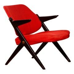 1950s, Red Wool Bengt Ruda Lounge Chair for Nordiska Kompaniet