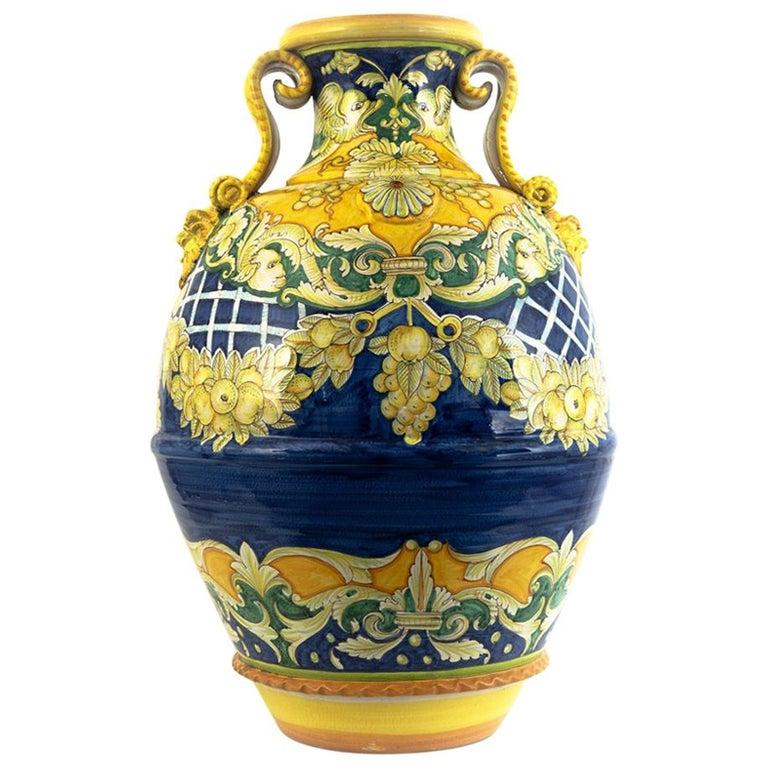 Massive Hand Painted Italian Vase/Urn  For Sale