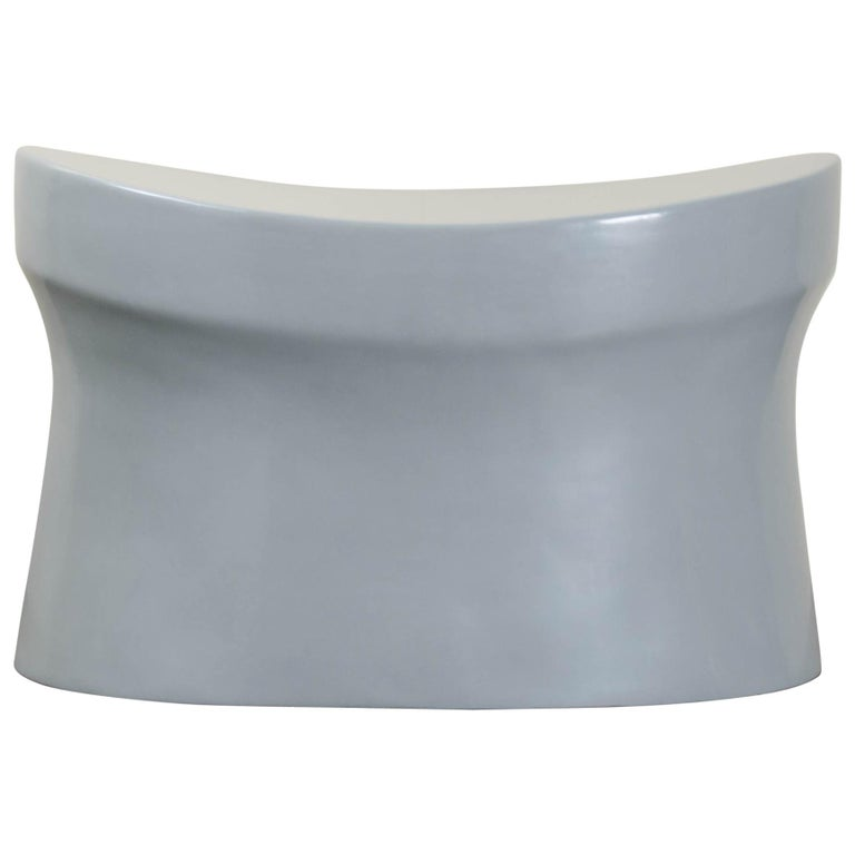 Saddle Seat Drumstool, Grey Lacquer by Robert Kuo, Limited Edition