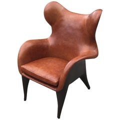 Johnny Contemporary Wing Back Leather Lounge Chair by Jordan Mozer, circa 2007