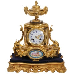 Ormolu and Sèvres Porcelain Boudoir Antique French Clock