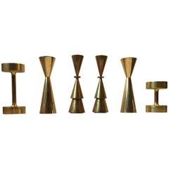 Group of Scandinavian Modern Brass Candlesticks from the 1960s & 1970s