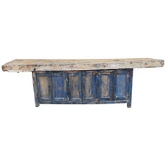 Spanish Rustic 18th Century Wooden Work Table or Buffet Painted Blue with Patina