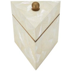 Tall Triangular Postmodern Tessellated Stone and Seashell Lidded Box, 1990s