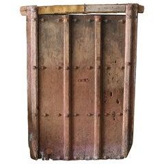 17th Century Spanish Rustic Door with Original Inset Iron and Original Paint