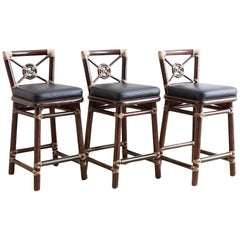 McGuire Rattan and Leather Target Design Counter Barstools